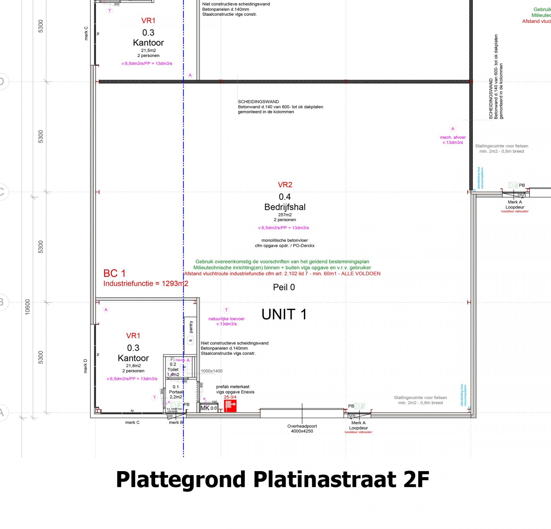Plattegrond Platinastraat 2 F