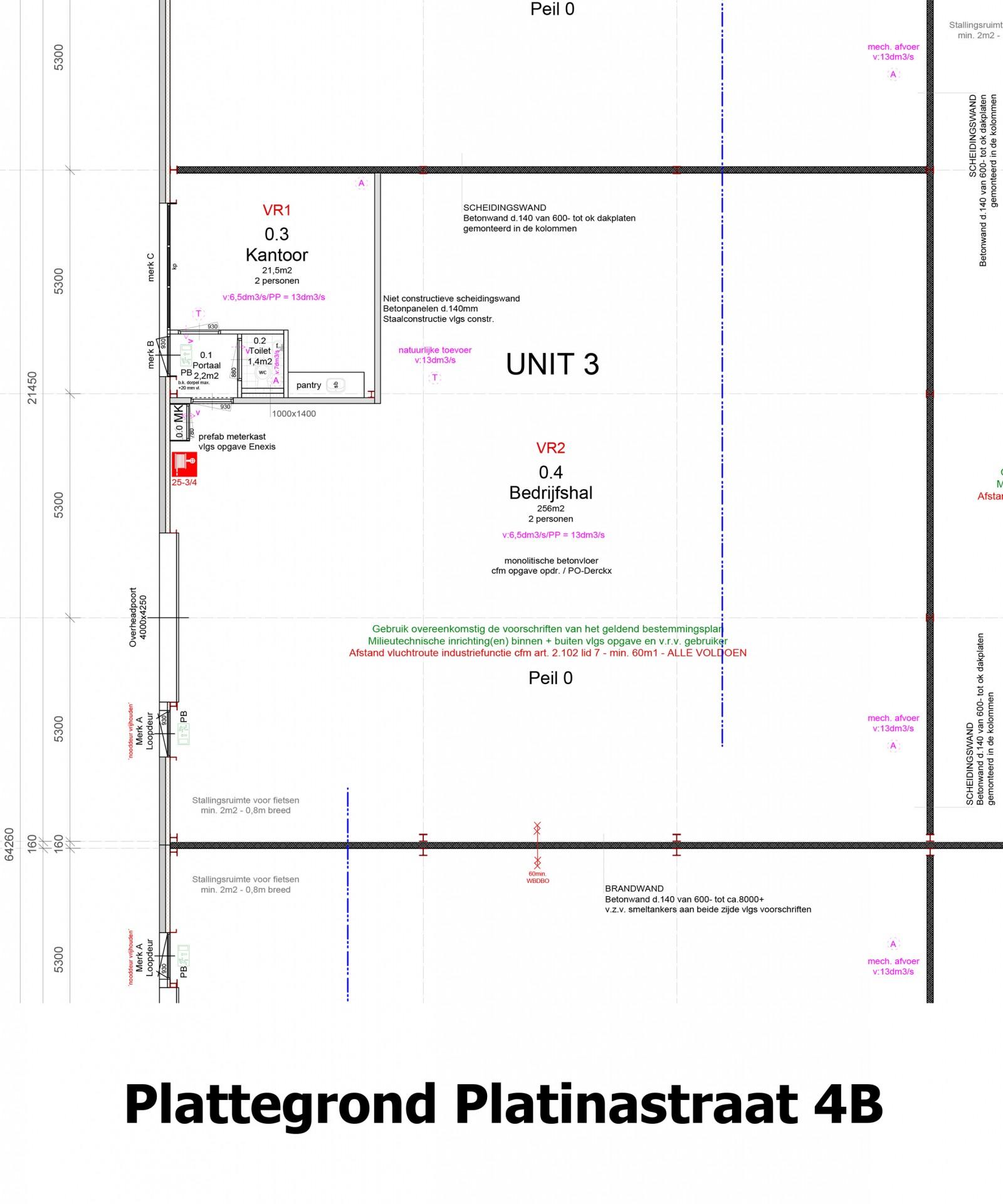 Plattegrond Platinastraat 4 B