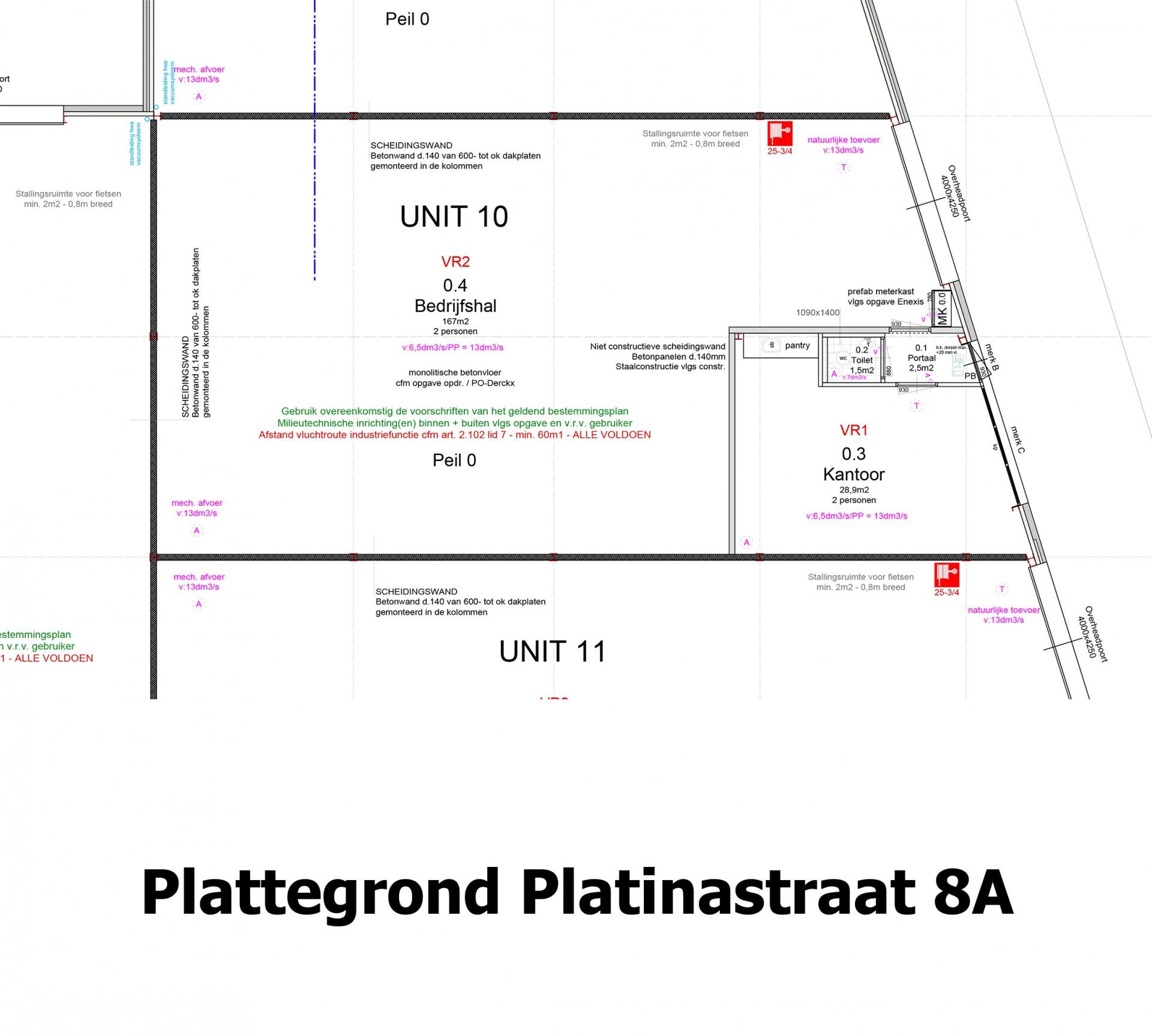 Plattegrond Platinastraat 8 A